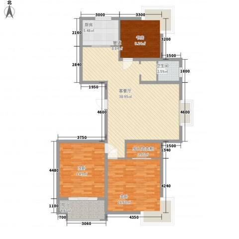 新东方花园3室1厅1卫1厨108.05㎡户型图