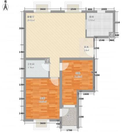 莱镇香格里2室1厅1卫1厨99.00㎡户型图