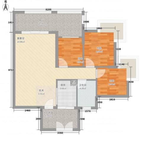 雍禾苑・康帕利小镇3室0厅1卫1厨85.00㎡户型图
