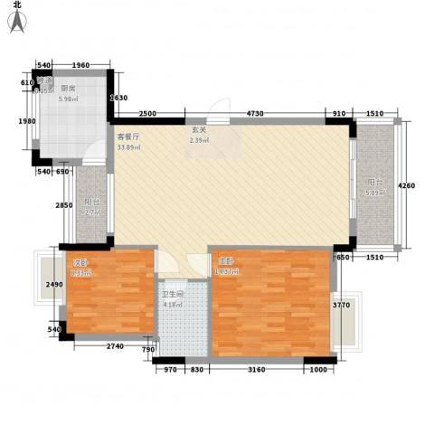 万科城市风景2室1厅1卫1厨105.00㎡户型图