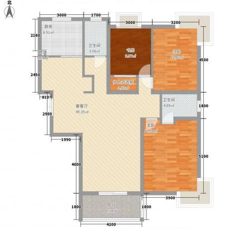 新东方花园3室1厅2卫1厨120.62㎡户型图