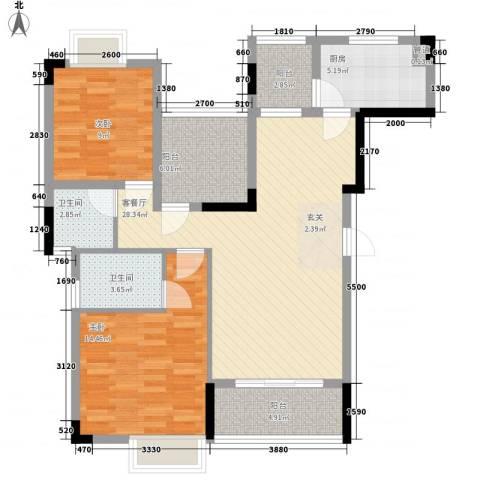 万科城市风景2室1厅2卫1厨112.00㎡户型图