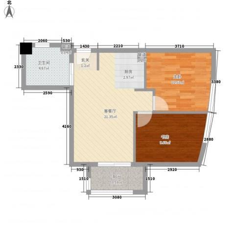 中铁财富港湾2室1厅1卫0厨71.00㎡户型图