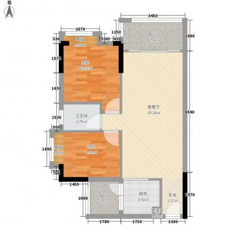 雍禾苑・康帕利小镇2室1厅1卫1厨82.00㎡户型图