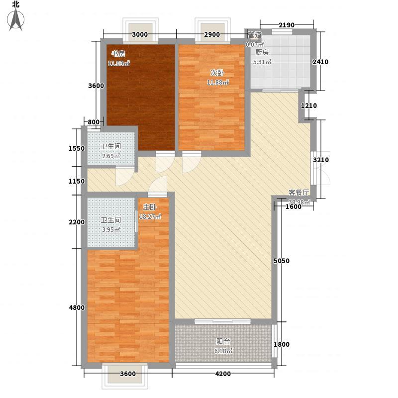 新东方花园13.25㎡F2户型3室2厅2卫1厨
