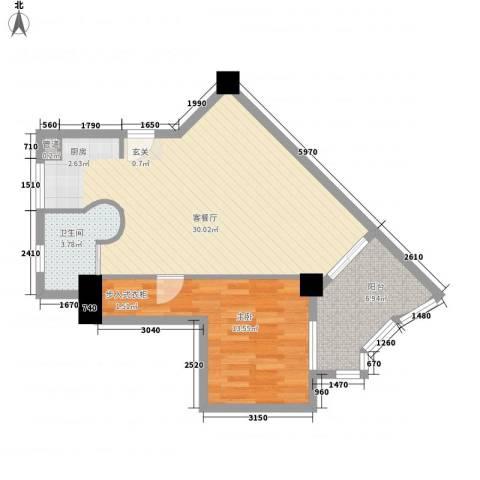 中铁财富港湾1室1厅1卫0厨65.00㎡户型图