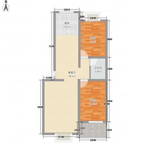 保利花园・荣域2室1厅1卫0厨93.00㎡户型图