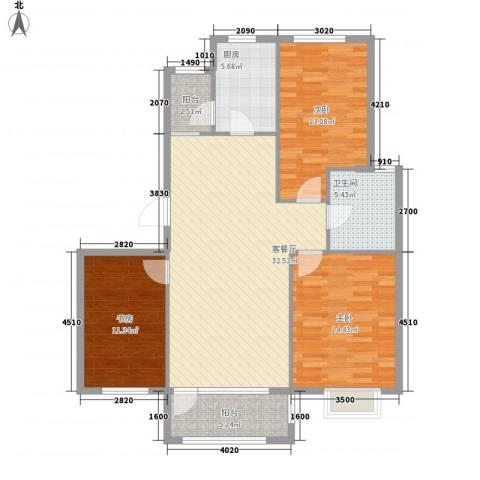保利花园・荣域3室1厅1卫1厨112.00㎡户型图
