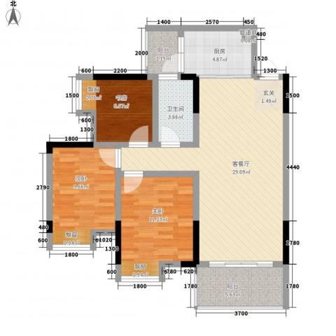 江与城3室1厅1卫1厨86.00㎡户型图