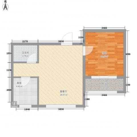 保利花园・荣域1室1厅1卫1厨60.00㎡户型图