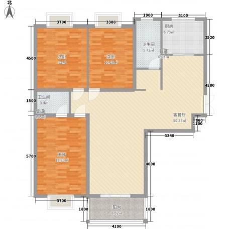 新东方花园3室1厅2卫1厨133.62㎡户型图