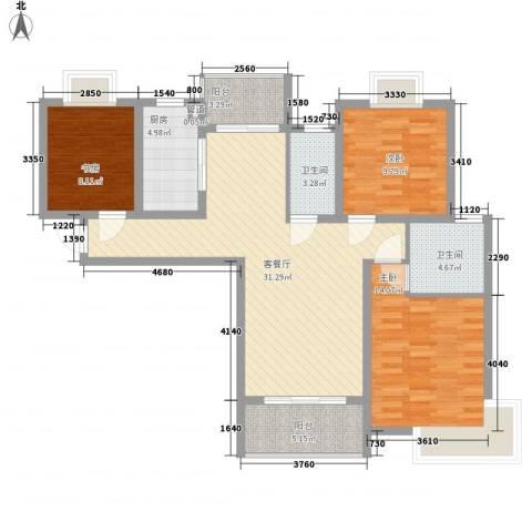 中邦城市花园3室1厅2卫1厨122.00㎡户型图