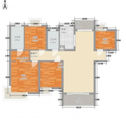 中邦城市花园4室1厅2卫1厨141.00㎡户型图