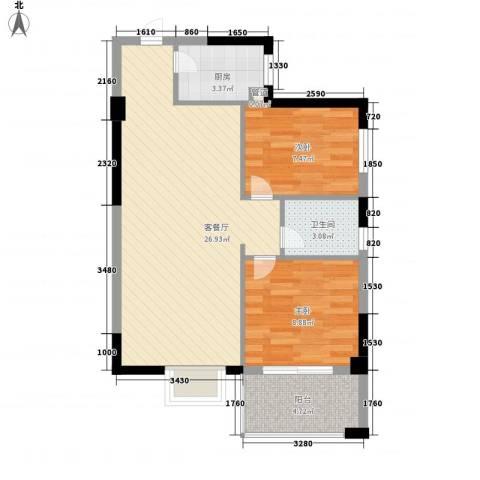 大儒世家绿园2室1厅1卫1厨77.00㎡户型图