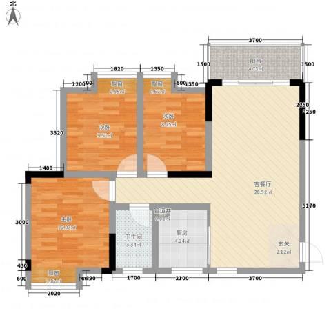 江与城3室1厅1卫1厨87.00㎡户型图