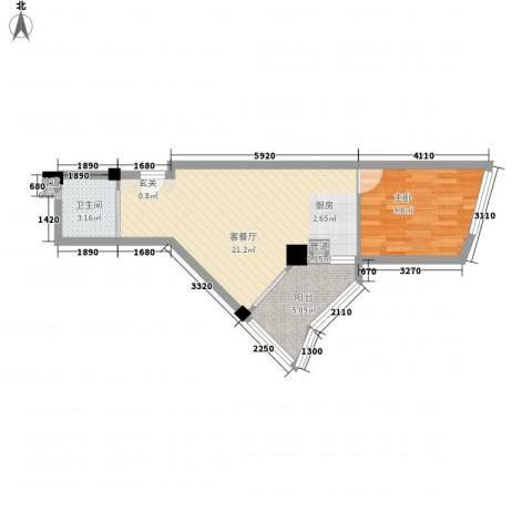 中铁财富港湾1室1厅1卫0厨57.00㎡户型图