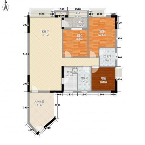 泓都名邸3室1厅2卫1厨120.00㎡户型图