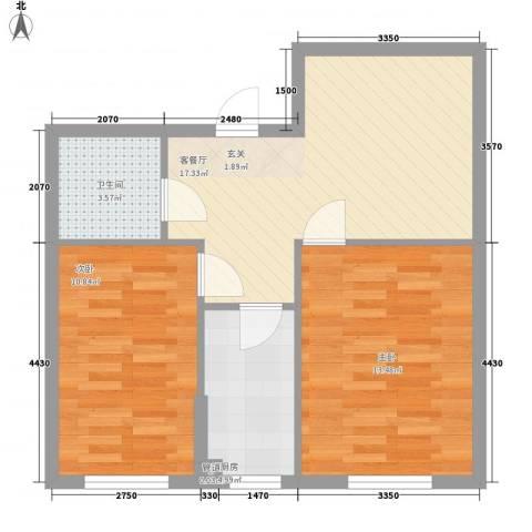 东韵万佳2室1厅1卫1厨65.00㎡户型图