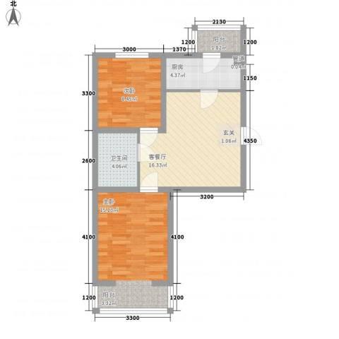 东韵万佳2室1厅1卫1厨66.00㎡户型图