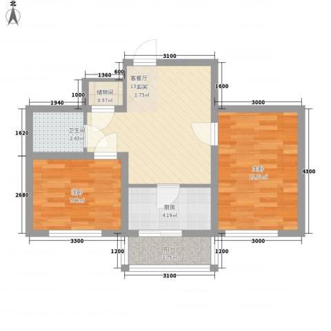 东韵万佳2室1厅1卫1厨57.00㎡户型图