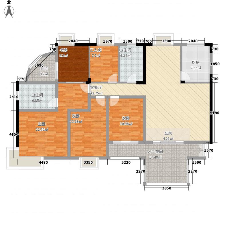 园林熙郡双阳台户型5室2厅2卫1厨
