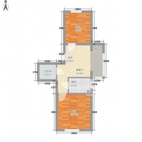 东韵万佳2室1厅1卫1厨63.00㎡户型图