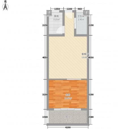一品苑1室1厅1卫1厨42.58㎡户型图