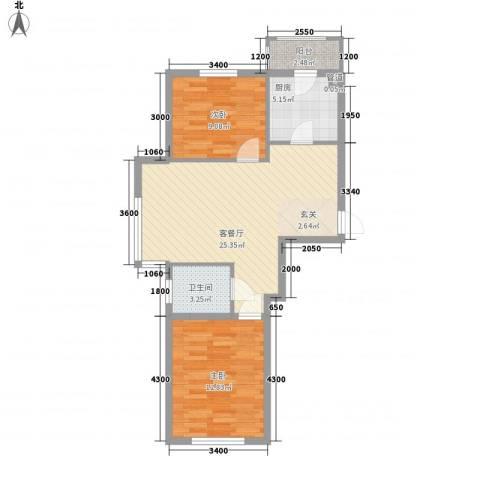 东韵万佳2室1厅1卫1厨75.00㎡户型图
