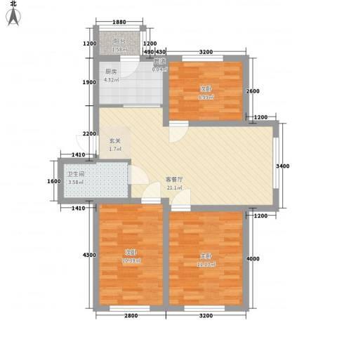 东韵万佳3室1厅1卫1厨79.00㎡户型图