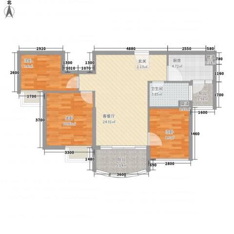 福鼎碧桂园3室1厅1卫1厨91.00㎡户型图