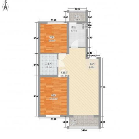 东韵万佳2室1厅1卫1厨79.00㎡户型图
