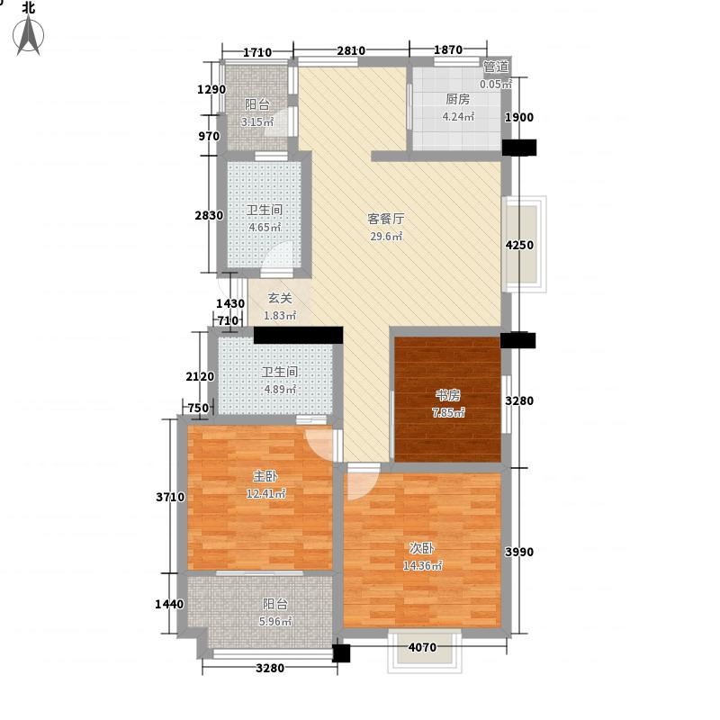 翠景园126.23㎡户型3室2厅2卫1厨