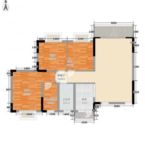 广大上城3室1厅1卫1厨127.00㎡户型图