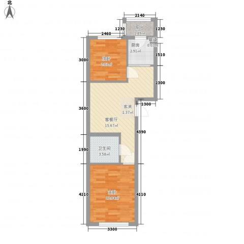 东韵万佳2室1厅1卫1厨64.00㎡户型图