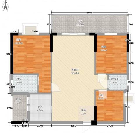 金翠峰1号3室1厅2卫1厨125.00㎡户型图