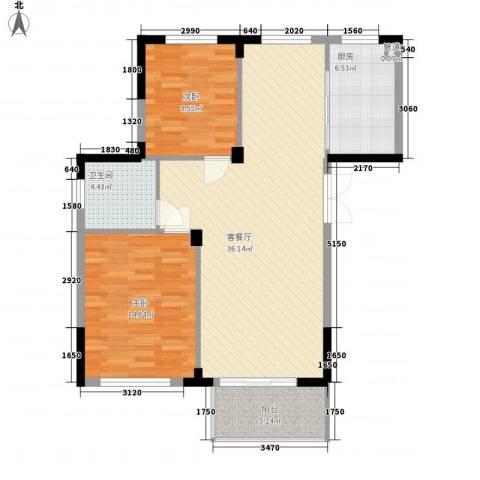 东方华庭2室1厅1卫1厨85.09㎡户型图