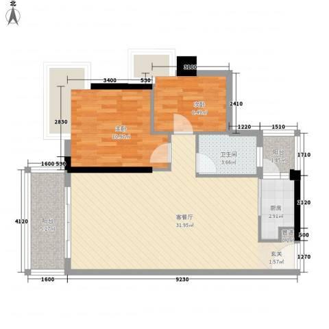 珠江南湾2室1厅1卫1厨84.00㎡户型图