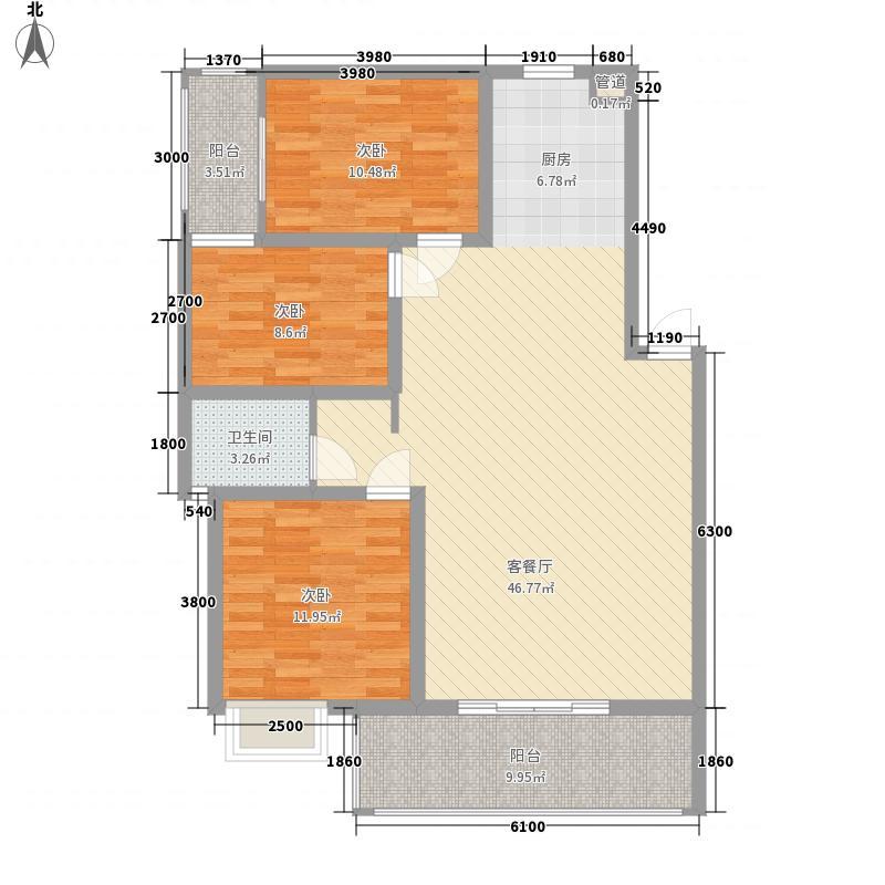 城南丽景阳光里3.30㎡8#2单元2号房户型3室2厅1卫1厨