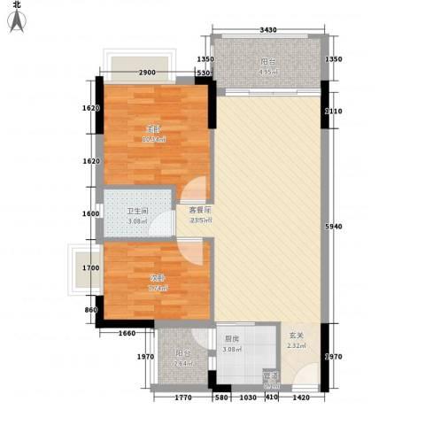 雍禾苑・康帕利小镇2室0厅1卫1厨82.00㎡户型图