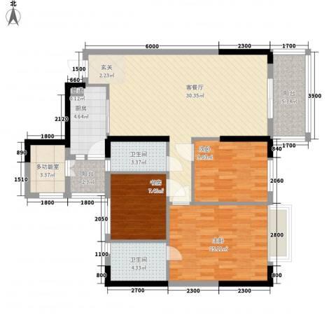 长堤1号3室1厅2卫1厨97.00㎡户型图