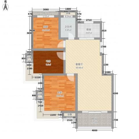 嘉业海棠湾3室1厅1卫1厨92.00㎡户型图