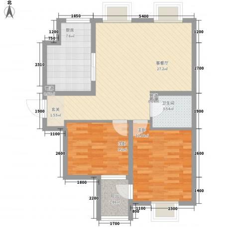 莱镇香格里2室1厅1卫1厨92.00㎡户型图