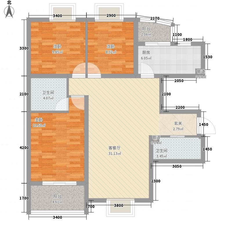 莱镇香格里116.71㎡A4户型3室2厅2卫1厨