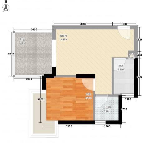 尚书苑1室1厅1卫1厨50.00㎡户型图