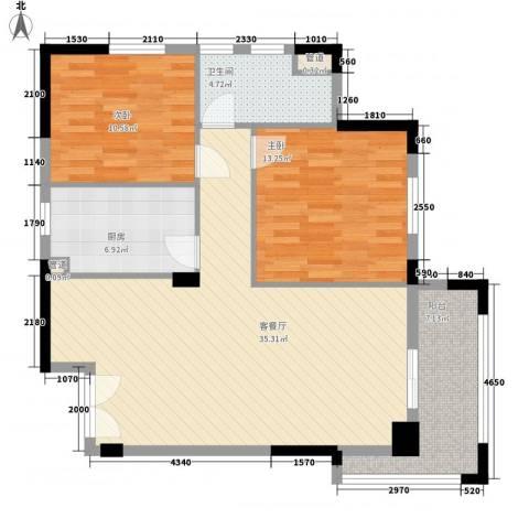 绿城桂花城2室1厅1卫1厨110.00㎡户型图