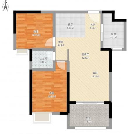 中盛圣地亚哥2室1厅1卫1厨102.00㎡户型图