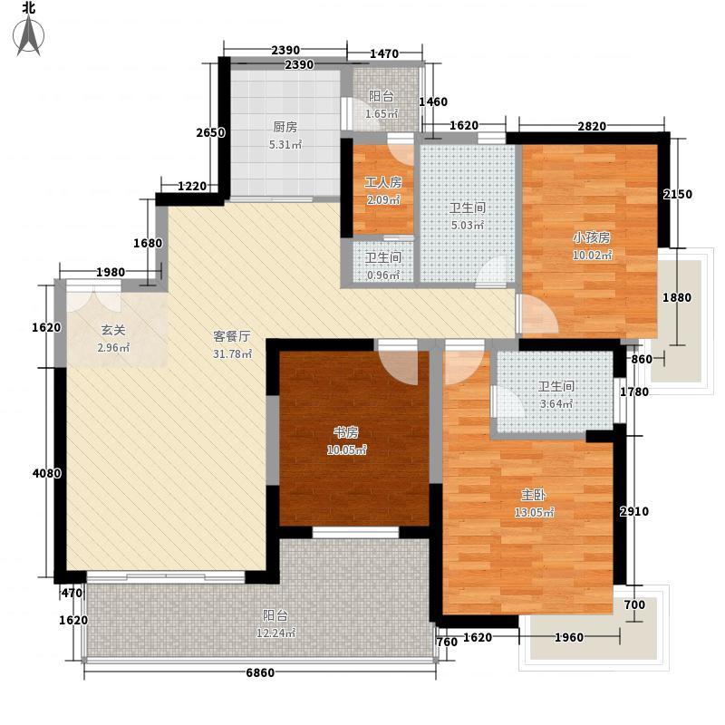 鸿翔花园137.00㎡7座A02户型3室2厅2卫1厨