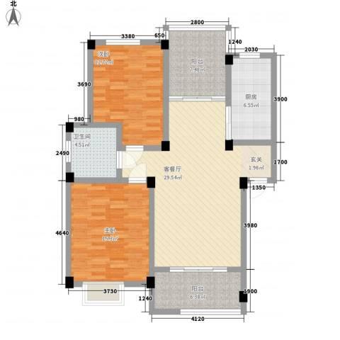 旭辉朗香郡2室1厅1卫1厨122.00㎡户型图