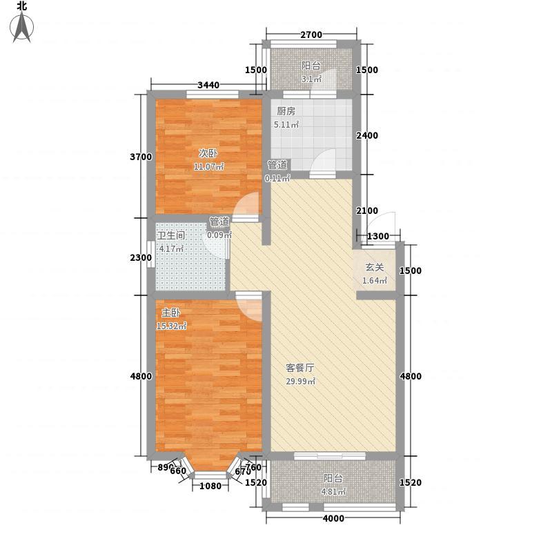 景园小区600x600户型2室1厅1卫1厨