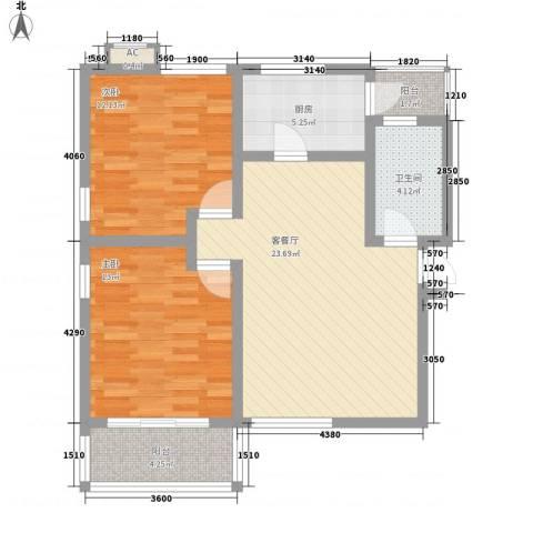 海御阳光2室1厅1卫1厨88.00㎡户型图